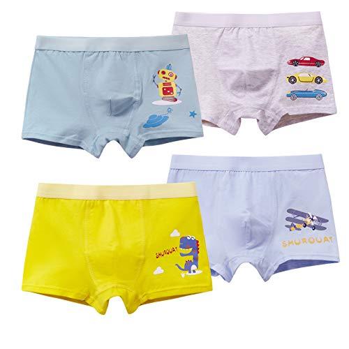 MiSense 4er Pack Jungen Dinosaurier Boxershorts Kinder Unterhosen Baumwolle Unterwäsche für 2-11 Jahre(4-5 Jahre, F016M)