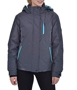 Swiss Alps Womens Insulated Waterproof Performance Winter Ski Jacket Coat Grey Heather Medium