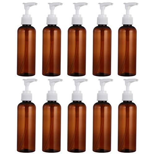 OSALADI 10 Botellas Vacías de 100Ml Botellas Vacías de Champú Botellas Dispensadoras de Loción Botellas para Viajes de Negocios de Camping Aire Libre (Marrón)