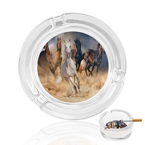 Outdoor Ashtray Running Horse Herd Glass Cigar Ashtrays Vintage For Men Man Women Outside Small Cute Portable Cool Fancy Crystal Weed Cigarette Ash Tray Home Decorative