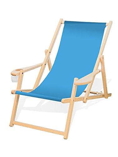 Holz-Liegestuhl mit Armlehne und Getränkehalter, Klappbar, Wechselbezug (Hellblau)