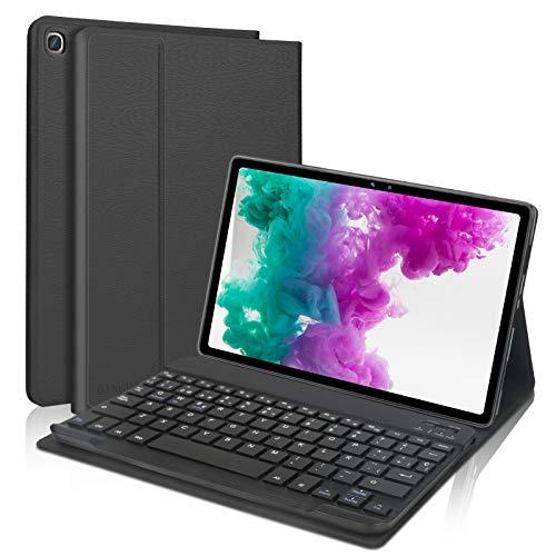 Dingrich Funda Teclado para Samsung Galaxy Tab A7 10.4 2020, Español Ñ Teclado Bluetooth Inalámbrico Extraíble Magnético para Samsung Galaxy Tab A7 10.4 T500/T505/T507 2020 Tablet Negro