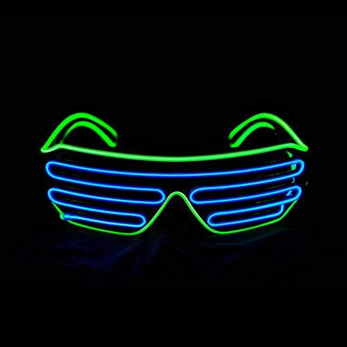 KingCorey Glow Shutter Neon Rave Brille EL Wire blinkende LED Sonnenbrillen leuchten DJ Kostüme für Party, 80er Jahre, EDM (Hellgrün+Blau)