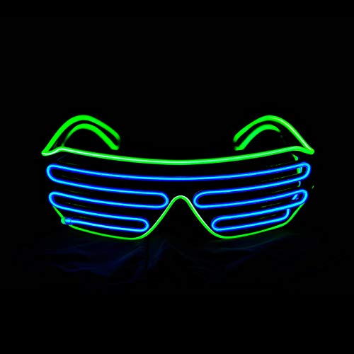 KingCorey Glow Shutter Neon Rave Glasses El Wire Flashing Gafas de Sol LED Light Up Disfraces de DJ para Fiesta, 80, EDM (Verde Claro+Azul)