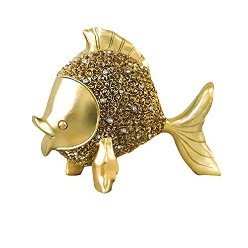 Baoblaze Estatuilla de pez Realista Moderna, Escultura artística de Resina, Adorno de pez Dorado, Estatua, Accesorios para Fotos, Sala de Estar