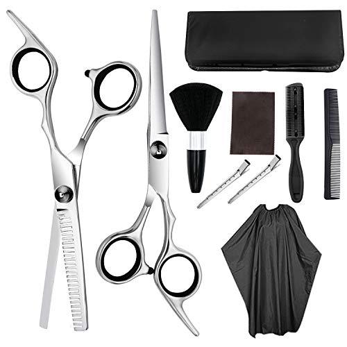 JIARUN Set de Tijeras de peluquería Profesional, Tijeras Planas de 6,5 Pulgadas, Tijeras de Adelgazamiento, Bolsa, Peine, Pinza de Pelo, peluquería, salón, Uso doméstico