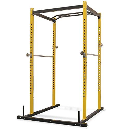 vidaXL Jaula de musculación, 140x145x214 cm Amarillo y Negro, Máquinas de musculación, Los Mejores Precios