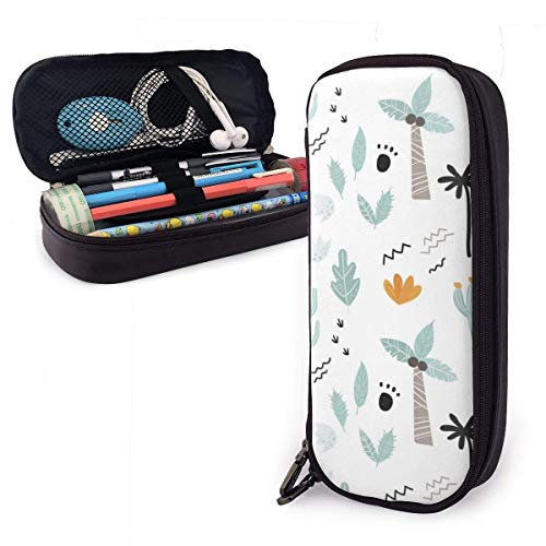 Pencil Case Pen Bag Cartoon Plant Cactus with Coconut Tree Leaves Pencil Case, Large Capacity Pen Case Pencil Bag Stationery Pouch Pencil Holder Pouch with Big Compartments