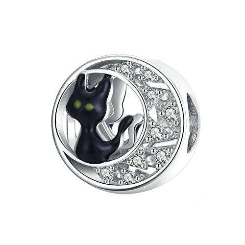 HMMJ Charms Dangle Beads,S925 Sterling Silver Round Animal With Zircon DIY Handmade Black Cat Pendant for Pandora Troll Chamilia Charm Bracelet Necklaces
