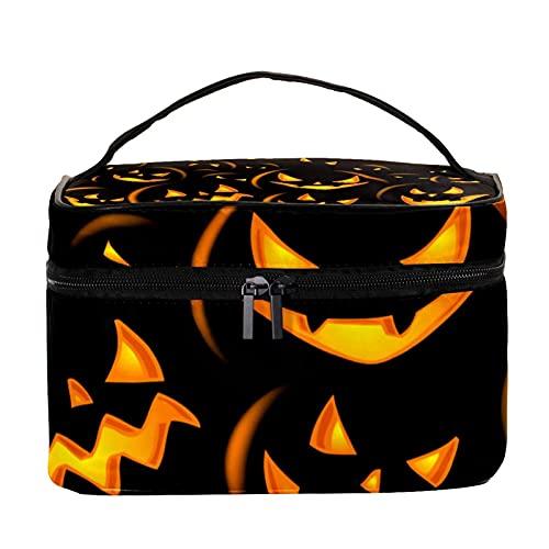 Bolsas de maquillaje para mujeres y nis de mano para cosmicos Estuche organizador bolsa portil de viaje Neceser Happy Halloween fondo naranja, Multicolor 10 Neceser