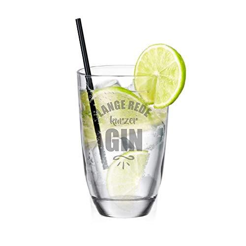 4youDesign Gin-Glas • Lange Rede, kurzer Gin • witzige Geschenkidee - Geburtstagsgeschenk Nikolausgeschenk - lustiger Spruch - Gin-Liebhaber - für sie - für ihn