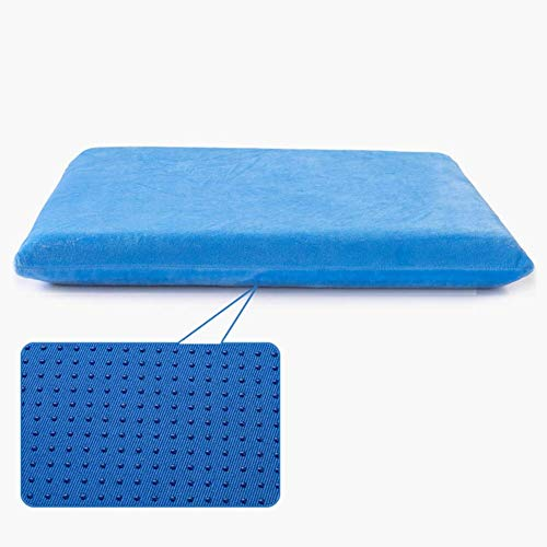 BD.Y Comfortably Memory Foam Seat Cushion, Removable Square Anti Slip Velour Cover Comfort Portable Home Chair Cushions For Office Chair Car Seat-blue 40x40cm-buckle+rope