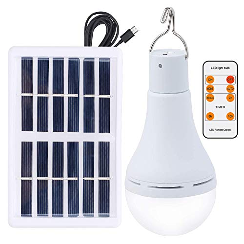 OwnZone Solar Light Bulb Outdoor 7W Rechargeable Led Bulb Solar Powered Light with Remote Timer, Lighting Sensor, 4 Lighting Mode for Chicken Coops Shed Hiking Camping Hurricane Emergency Lighting