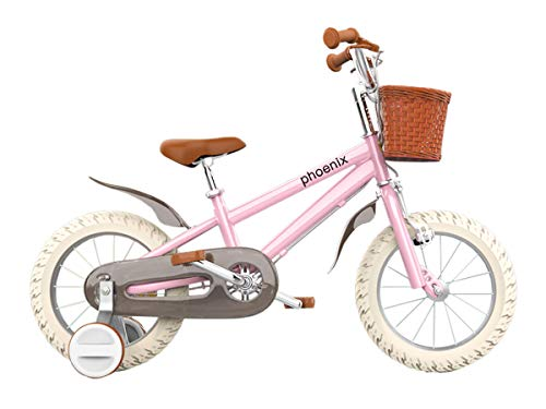 PHOENIX Vintage 14 16 18 Inch Kids Bike with Basket and Training Wheels, Handbrakes for 3-8 Years Old Girls &Boys Toddler (16 INCH, Pink)