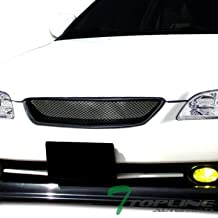 Topline Autopart Black T-R Aluminum Mesh Front Hood Bumper Grill Grille ABS For 98-02 Honda Accord 2 Door Coupe