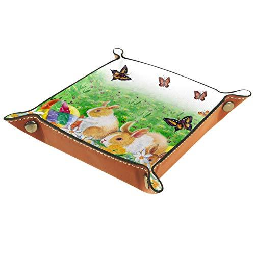 YATELI Caja de Almacenamiento pequeña, Bandeja de Valet para Hombre,Huevos de Conejito de Pascua Flores de Primavera y Mariposa,Organizador de Cuero para Llaves de Caja de Monedas