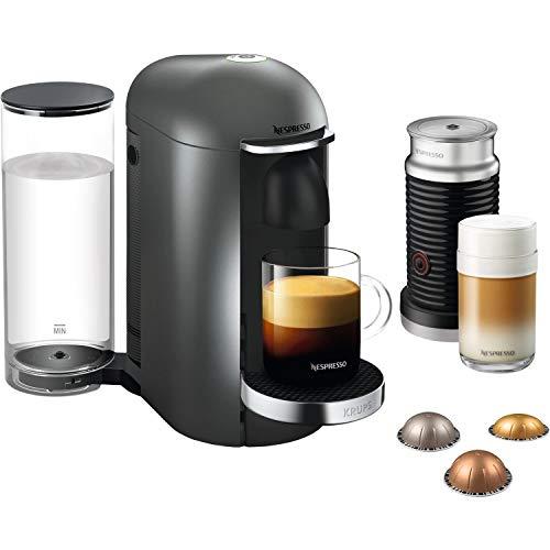 Nespresso, Pod Coffee Machine, Krups, XN902T40, Vertuo Bundle, Titanium, 1260 W - Reclamar 100 cápsulas de café más 2 meses de suscripción de café (1º y 6º) gratis cuando compra este producto