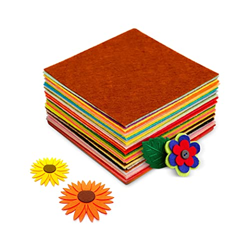 Evinito Felt Sheets for Crafts 40 Pcs (4 x 4 Inches) Assorted Felt Fabric Squares 1mm Thick, Soft and Non-Woven for Sewing, Patch Work, Embroidery, Crafting, Kids School Activities & Decoration