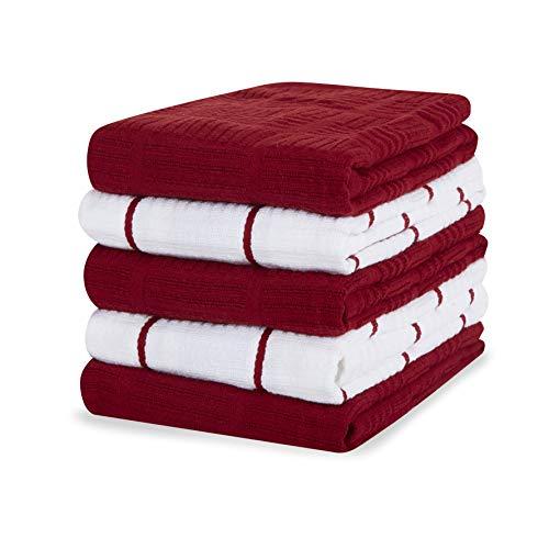 Sticky Toffee Paños de cocina 100% algodón rizado, paquete de 5 paños de cocina   40,6 x 71 cm   rojo   Paños de cocina de cristal de restaurante y bar