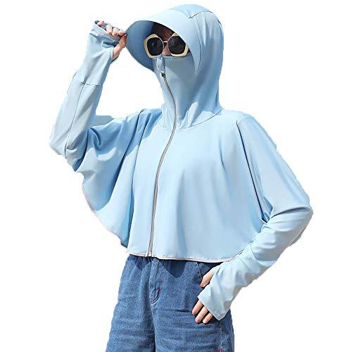 GIJK Ropa Protección Solar Mujer UPF 50+ Anti UV 8 Veces Congelado Seda Hielo Mangas Transpirables Secado Rápido Duración Ropa Sol con Cola Caballo Expuesta Cuerda Prueba Viento,Azu