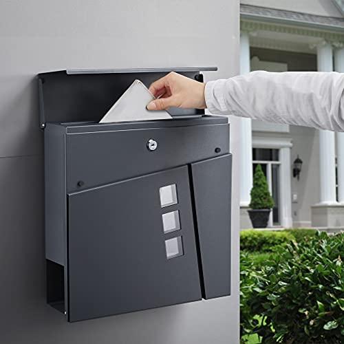 BONADE Briefkasten Anthrazit aus Edelstahl Mailbox mit Zeitungsfach Sichtfenster A4 Einwurf-Format Wandbriefkasten inkl. 2 Schlüssel (36,8cm x 36,8cm x 10cm)