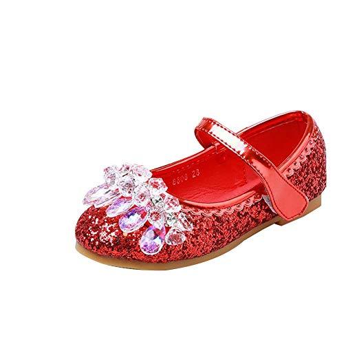 Mädchen Prinzessin Schuhe Kinder Ballerina Sandalen Partei Glitzer Kristall Schuhe Prinzessin Verkleidungsparty Rot 33 EU