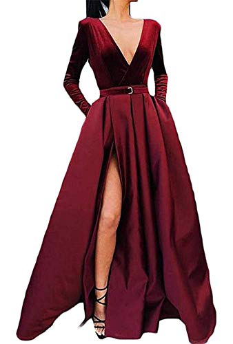 OLOEY BeautBoy Long Sleeves Velvet Prom Dresses Plus Size V Neck Pageant Evening Gowns with Slit P62 Burgundy 22W (Apparel)