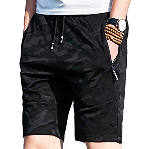 emansmoer Homme Drawstring Sports Slim Fit Breathable Cycling Biking Running Shorts Training Fitness Athletic Short Pants(3XL, Black)