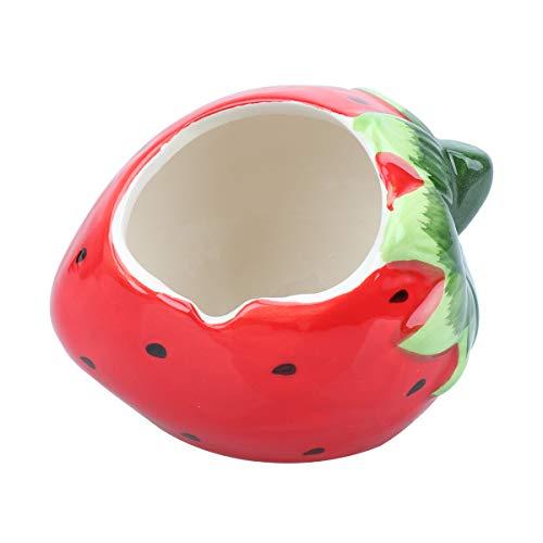 POPETPOP Erdbeer-Form Kleintierversteck aus Keramik für Haustiere, Katzenhöhle für Chinchilla-Hamster