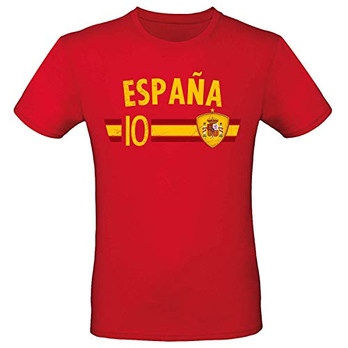 Shirt-Panda Fußball WM T-Shirt · Fan Artikel · Nummer 10 · Passend zur Weltmeisterschaft · Nationalmannschaft Länder Trikot Jersey für 2022 · Herren Damen Kinder · Spanien Espana Spain L