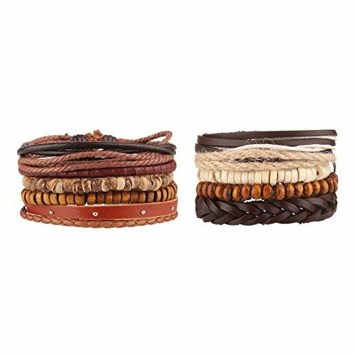 Beauty7 10 Pcs Pulseras Étnico Retro de Cuero Trenzadas Pulseras de Cuentas del Correa del Trenzado Brazalete Ajustable para Hombres Mujeres Leather Wristbands