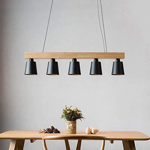 ZMH Lampara Colgante Comedor Iluminacion Interior Arana de Techo de Metal y Madera Altura Ajustable y Diseno, con 5 bombillas (incluidas) Blanco Calido para Comedor/Salon/Cafeteria