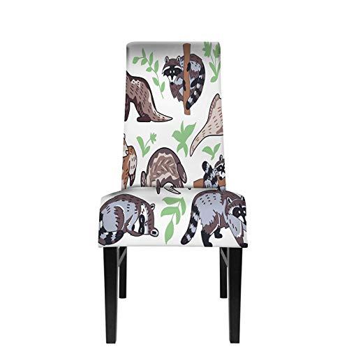 Ferret Raccoon Fundas para sillas de Comedor Cute Brown Forest Animal mustela Personajes Hojas Procyon lotor Fundas para sillas de Comedor Fundas Protectoras para sillas de Comedor