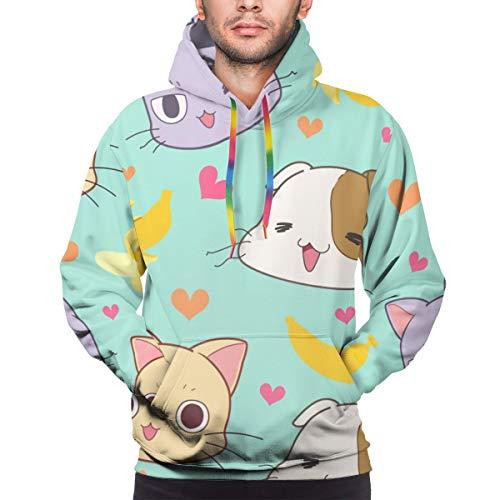 Rockboy Sudadera con Capucha para Hombre Patrón sin Costuras Cute Cat, Banana and Heart Vector? Vector, M Sweatshirt