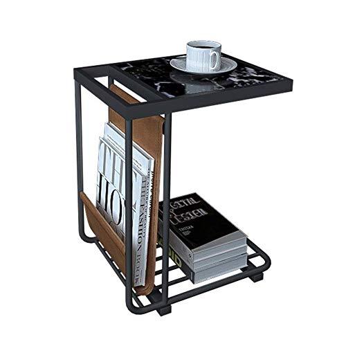 Mejoras para el hogar Diseño de mueblesSala de estar de mármol Mesa auxiliar Sofá Mesa auxiliar de hierro forjado nórdico Mesa de centro pequeña Luz Sala de estar Mesa de esquina d 45 * 33 * 55