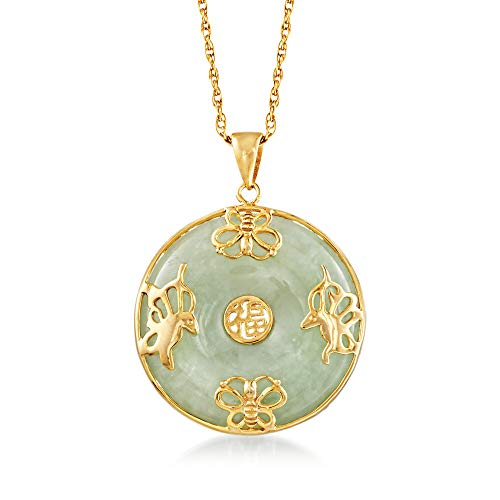 Ross-Simons Green Jade'Good Luck' Butterfly Pendant Necklace in 18kt Gold Over Sterling