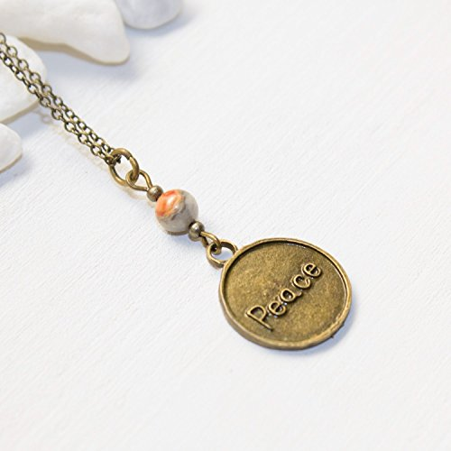 Peace Coin Necklace - Agate Unique Handmade Good Vibes Zen Jewelry - Handmade in the US