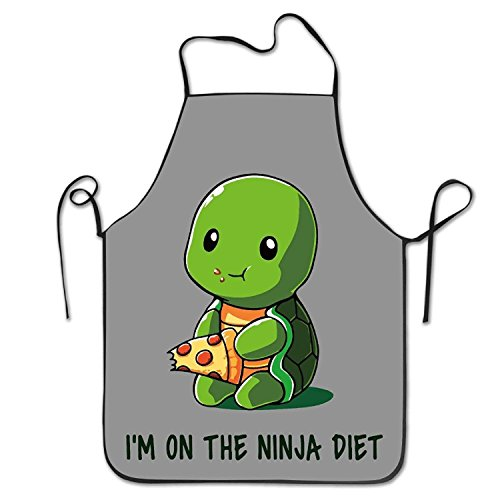 Fs2A1X Personalized Aprons Turtle On A Ninja Diet Unisex Cooking Apron