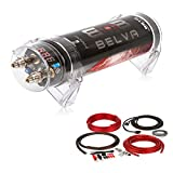 BELVA Professional Grade 1 Farad Capacitor and 4 Gauge Amp Kit with 2 Channel RCA Comb Kit (1 Farad Capacitor and 4gauge 2 Channel amp kit) (RED) [B1DK42R]