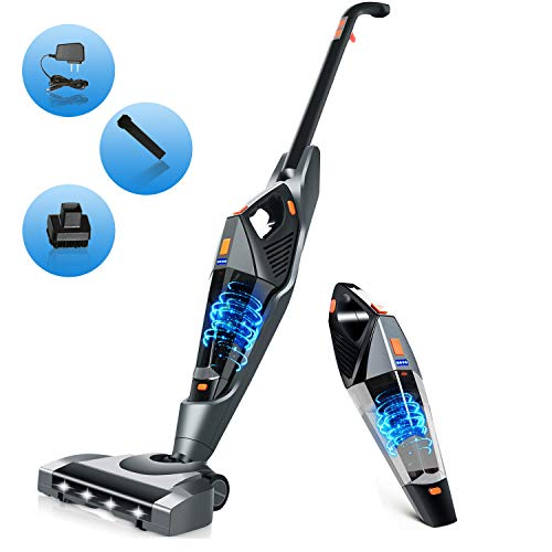 Cordless Vacuum Cleaner,Hikeren Portable Stick Vacuum with 12kpa Powerful Suction 2 in 1 Cordless Stick Vacuum with Rechargeable Lithium Ion Battery for Hard Floor Carpet Pet Hair
