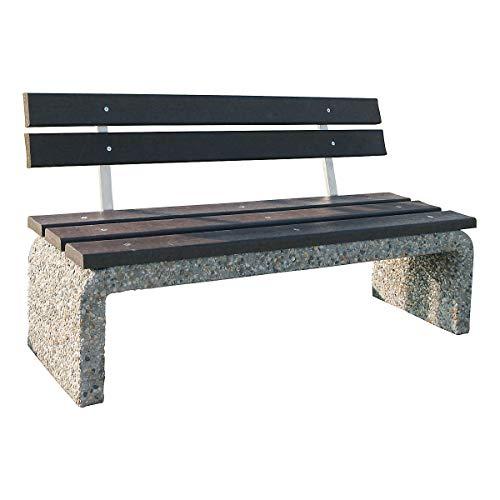 Certeo Betonbank mit Rückenlehne | HxBxL 80 x 40 x 160 cm | Bank Parkbank Sitzbank Beton