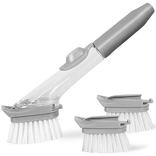 VEGOLS Soap Dispensing Dish Brush, Kitchen Scrub Brush for Pans Pots Sink - with 1 Handle and 3 Brush Heads, Clear/Gray