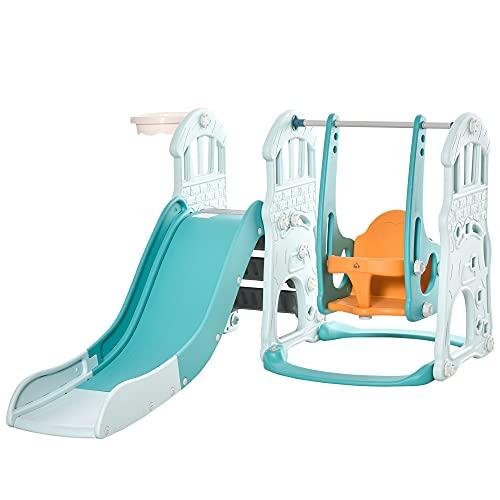 homcom Scivolo per Bambini con Altalena Regolabile, Canestro e Palle per Cameretta e Giardino, 149x186x98cm, Blu e Arancione