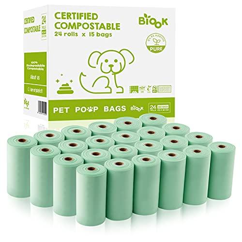 BIOOK Bolsas Caca Perro 100% Compostables, 360 Bolsas, Materiales Basados en PLA+PBAT+Almidón de Maíz, Ecológico, Sin Perfume, BPI ASTM D6400, EN13432 Ok Compost Certificación