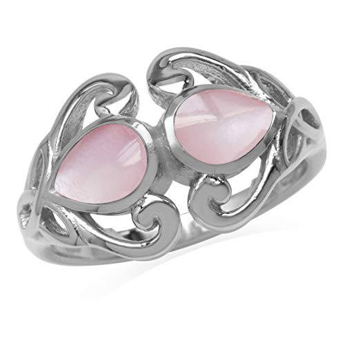 Silvershake 7X5mm Pear Shape Pink Mother of Pearl 925 Sterling Silver Triquetra Celtic Knot Heart Ring Size 6