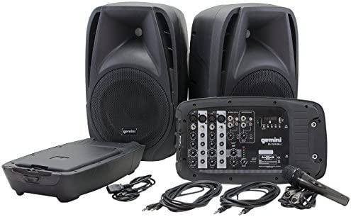 "Gemini ES Series ES-210MXBLU Professional Audio Portable PA System with Two 10"" Passive Speakers and Microphone Included, 8 Channel Mixer, 4 Line/Mic Inputs"