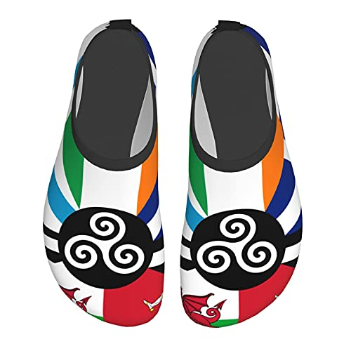 Combined Flag of The Celtic Nations Water Shoes Quick-Drying Outdoor Barefoot Water Sports Shoes Surf Swimming Yoga Unisex Black