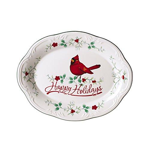 Pfaltzgraff Winterberry Happy Holidays Cardinal Oval Platter Dinnerware Set, Assorted