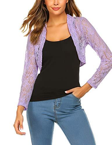 Grabsa Women's 3 4 Sleeve Lace Shrugs Bolero Cardigan Crochet Sheer Crop Jacket Lavender