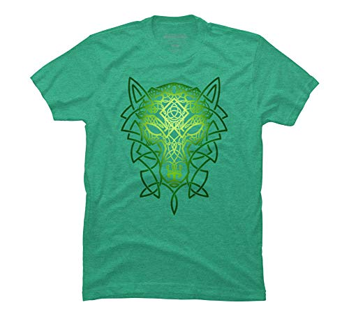 Design By Humans Celtic Wolf Men's Medium Lime Green Heather Graphic T Shirt